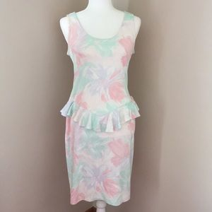 Pastel colored dress with ruffle